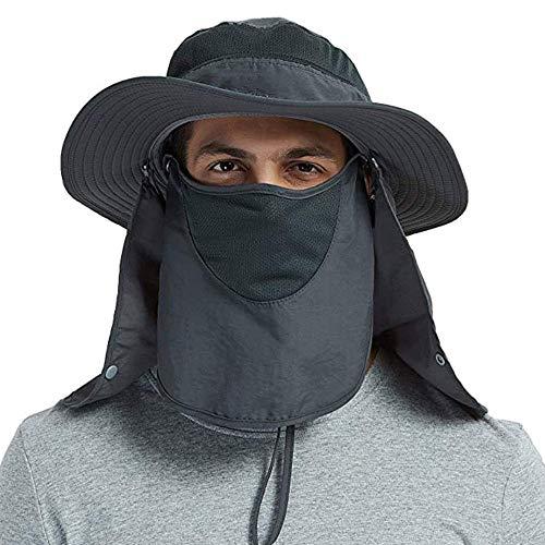 NDOOL XSRTT Sombrero para el Sol Protector Gorro Pescador Anti-UV UPF50+ Gorra Pesca Solar ala Ancha Transpirable Multiusos con Velo y Mosquitera Protección Cuello Al Aire Libre