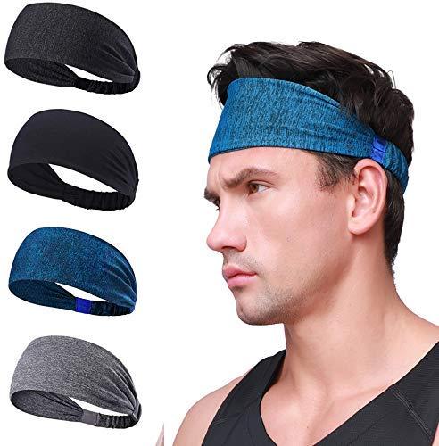 Scott Edward Banda para el sudor deportivo de 4 piezas, cintas para la cabeza, elásticas, absorción de agua, secado rápido, para senderismo, correr, ciclismo, yoga, tenis para mujer, diadema para hombre