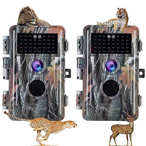 HHWNZ 2 PCS Cámara de Caza Nocturna 20MP 1080P con Diseño Impermeable IP66 Cámara de Fototrampeo con Detección de Acción LED IR Sin Brillo para Seguimiento Cinegético de Fauna.