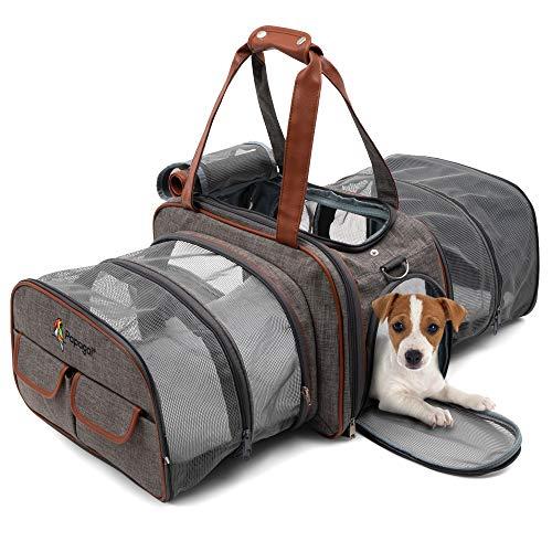 Transportín de mascotas premium doble expandible aprobado por aerolíneas, bolsa de transporte para gatos y perros, transportín de viaje para mascotas con ropa de cama de forro polar de felpa para aviones, coches, bolsa de viaje con correa de cinturón de seguridad