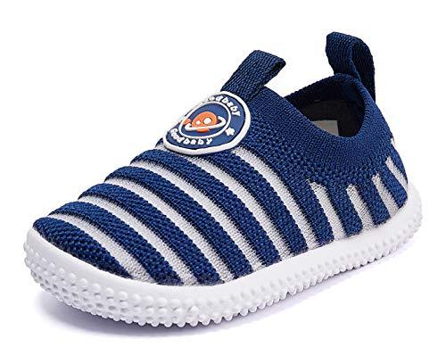 Zapatillas de bebé para niño y niña, antideslizantes, para primeros andadores, 6, 9, 12, 18, 24 meses, Azul marino/flor y brillo, 12-18 Months Infant