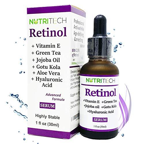 Suero facial de Retinol anti arrugas con Vitamina E, Acido hialuronico, te verde, aceite de jojoba, gotu kola, super concentrado