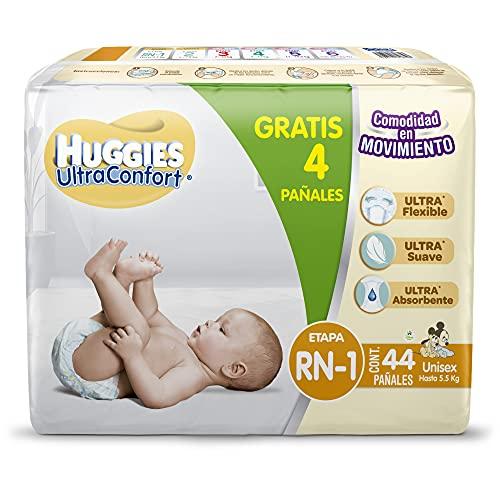 Huggies Ultraconfort Pañal Desechable para Bebé, Etapa Recién Nacido - 1 Unisex, Paquete con 44 Piezas, hasta 5.5 kg