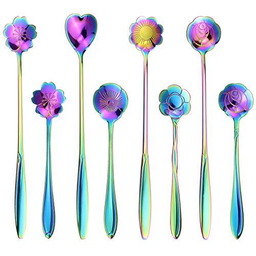 SelfTek Juego de 8 cucharas de flores de arco iris, 2 tamaños diferentes, de acero inoxidable, reutilizables, cucharas de café, azúcar, cucharillas de postre para tartas, cucharas de té, cuchara de mezcla, cuchara de té y hielo