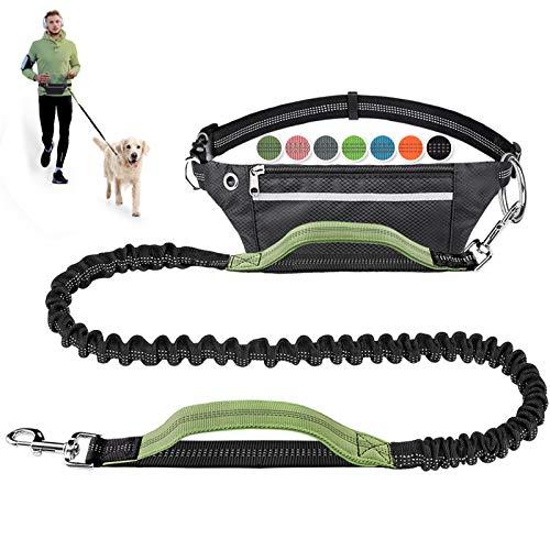 Correa de perro manos libres para correr, caminar, correr, entrenamiento, senderismo, cuerda elástica retráctil para perros medianos a grandes, cinturón ajustable con paquete, costuras reflectantes, doble asa