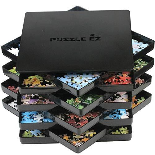 Charolas de clasificación de rompecabezas con tapas apilables de 23 X 23 cm, organizador de rompecabezas negro, accesorios de almacenamiento para adultos, organizador de hasta 1,500 piezas, ahorro de espacio de mesa, regalo para los amantes del rompecabezas