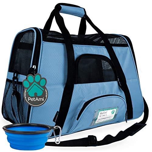 PetAmi Premium Airline - Transportín de viaje para mascotas de doble cara para mascotas, tamaño pequeño, mediano y ventilado, diseño cómodo con características de seguridad (grande, azul bebé)