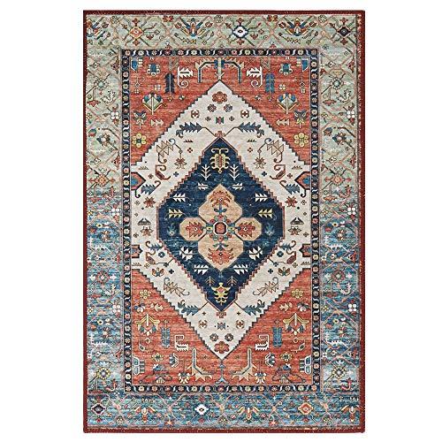 Lahome Collection - Alfombra de área tradicional – Antideslizante envejecida vintage persa oriental alfombra acentuada manta de pelo bajo alfombra de piso para puerta de entrada, dormitorio decoración (3 pies x 5 pies, Formal persa)