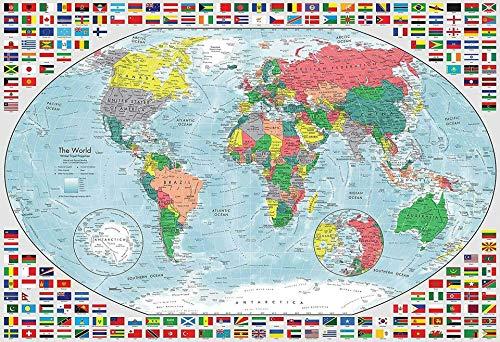 Mapa del mundo 1000 piezas rompecabezas para adultos paisaje rompecabezas arte estilo regalo bricolaje mural pintura entretenimiento intelectivo juguete educativo ideas para relajación, meditación Hobby