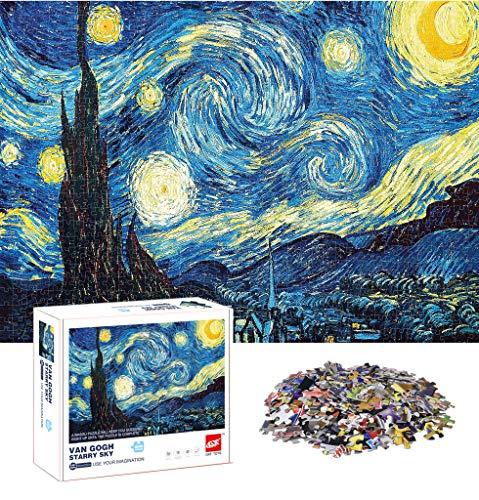Rompecabezas de 1000 piezas para adultos, rompecabezas para adultos o adolescentes, 1000 piezas por pieza, divertido y desafiante juego familiar (noche estrellada de Van Gogh)