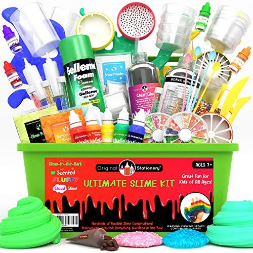 Original Stationery Ultimate Slime Kit de bricolaje para hacer limos con relleno para unicornio, purpurina, nube, mantequilla, flotador, más – Kits de regalo para niñas y niños (verde, 55 piezas)