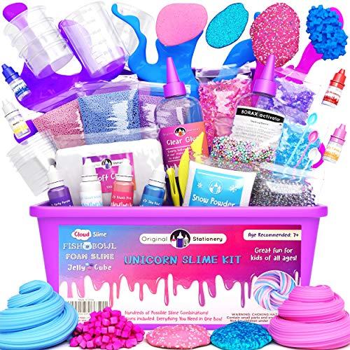 Original Stationery Unicornio Slime Kit suministros cosas para niñas haciendo limo [todo en una caja] Los niños pueden hacer unicornio, purpurina, nubes esponjosas, masilla de flotador, rosa