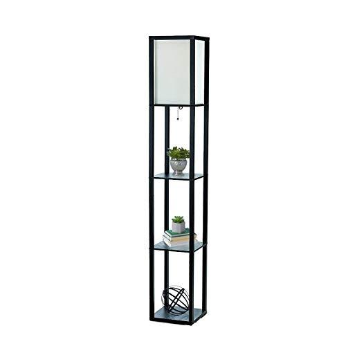 Diseños simples Home lf1014-gry–Lámpara de pie con organizador estante de almacenamiento de lino, Gris, MDF, 2 Shelf, Negro
