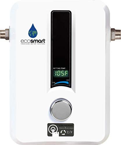 EcoSmart ECO 11 Calentador Eléctrico de Agua sin Tanque, 13 kV a 240 voltios con Tecnología Patentada de Auto Modulación, Blanco, 9.53 x 20.32 x 29.21 cm