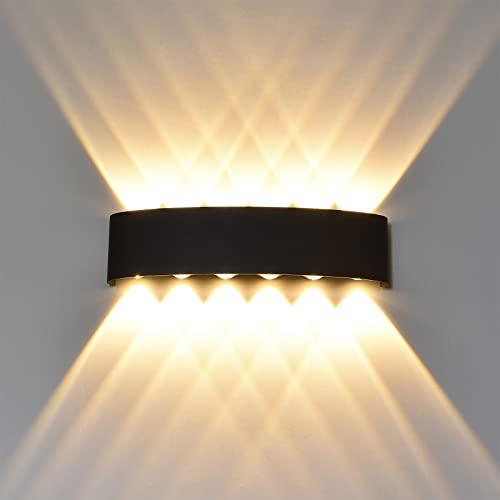 ROSYSKY - Lámpara de pared LED para exteriores (12 W, 3000 K, resistente al agua, para dormitorio, pasillo, patio, escalera, garaje (12)