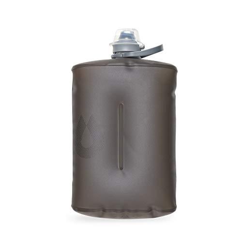 Hydrapak Stow – Botella de Agua Plegable – (1 litro) – Botella de Viaje Ultraligera y Plegable, Bolsa de compresión, Tapa fácil de Abrir, sin BPA – Mammoth Grey