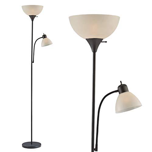 Lámpara de pie ajustable con luz de lectura, lámpara de pie moderna, estilo Susan para sala de estar y oficina, de 182.88 cm de alto, 150 vatios con luz de lectura lateral, lámpara de esquina de Light Accents