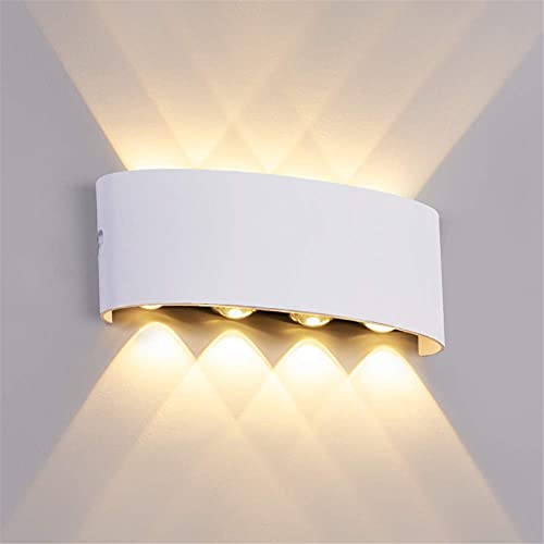 Sunsign 8W LED Lampara Pared Industrial IP65 Impermeable Fuentes De Luz Superior E Inferior para La IluminacióN Interior Y Exterior Blanco