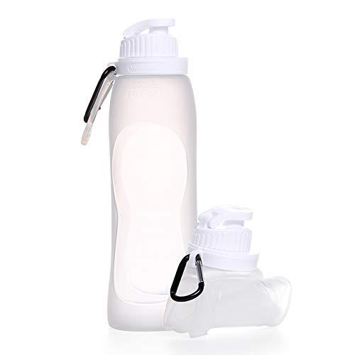 LING-EU Botella de agua de silicona plegable con tapa a prueba de fugas para deportes, viajes, camping (17 onzas, blanco)