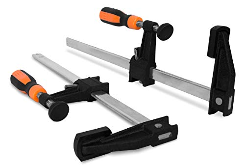 WEN 10212F2 - Abrazaderas de barra de acero de 12 pulgadas de ajuste rápido con garganta de 2.5 pulgadas y mango de microajuste, dos unidades