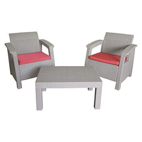 InnHome Sala para exteriores tipo rattán Set de muebles para exterior con 2 sillones y una mesa Sala para jardín o terraza Sala con 2 sillones y mesa de centro tipo rattán para intemperie (Gris-Arena)