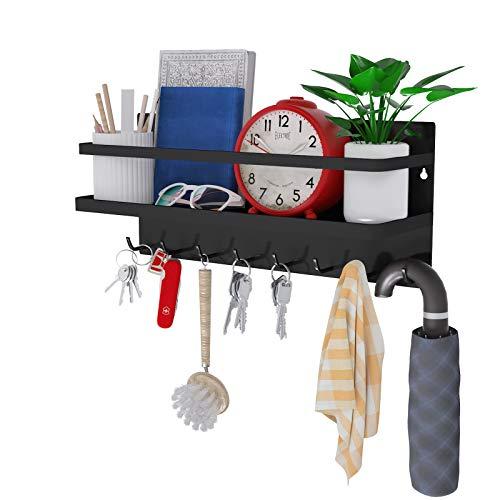 8 ganchos magnéticos para llaves, ganchos magnéticos con bandeja, ganchos para abrigos, estante magnético para llaves, letras, revistas, abrigos, llaves, utilizado en cocina u oficina, hecho de acero (negro, grande)
