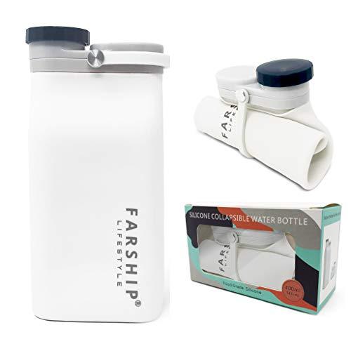 Botella de agua de silicona plegable, fuerte, ligera, ultra portátil, plegable, a prueba de fugas, libre de BPA, 14 onzas, 22 onzas