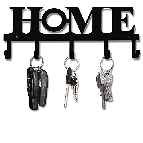 Soporte para llaves de pared de metal negro, diseño vintage, 33 x 13,5 cm, decoración del hogar, rústico occidental, colgador decorativo con 5 ganchos para puerta delantera, cocina y hogar