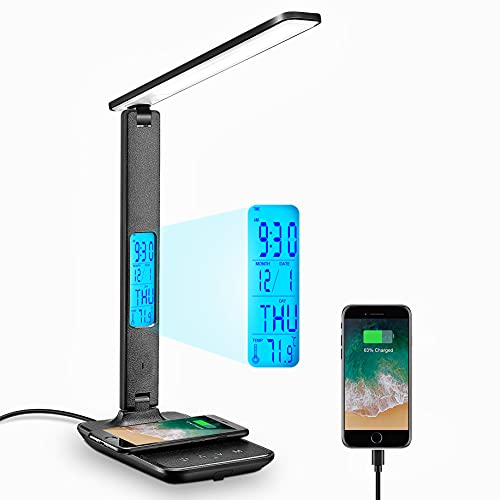 Lámpara de escritorio, lámpara LED de escritorio con cargador inalámbrico, puerto de carga USB, ajustable, lámpara de mesa plegable con reloj, alarma, fecha, temperatura, 5 niveles de iluminación regulable, lámpara de oficina con adaptador