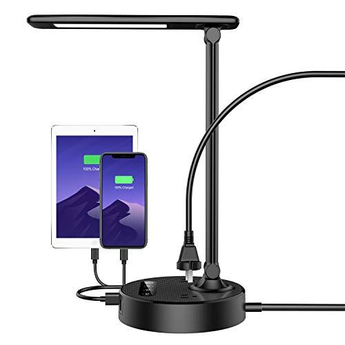 Lámpara de escritorio LED con 4 puertos de carga USB y 2 salidas de CA, 4 temperaturas de color y 4 niveles de brillo, función táctil / memoria / temporizador, protección ocular de 8 W, luz de lectura plegable, negro (nueva versión)