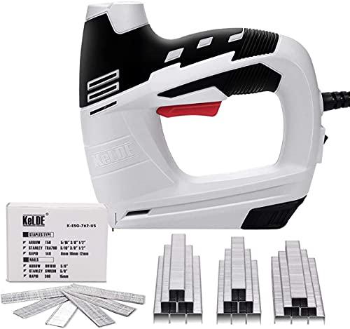 KeLDE Juego de grapas eléctricas/pistola de uñas, 120 V, incluye 900 grapas T50 y 300 clavos de 15 mm