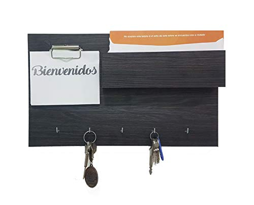 Porta Llaves De Pared Moderno Minimalista de Melamina Portallaves (Negro (Anahuac)