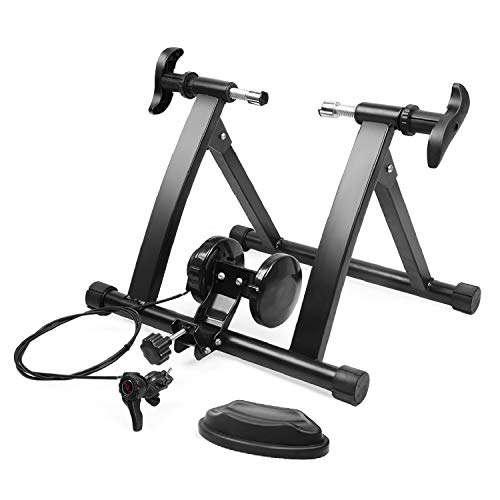 Flexzion Soporte de entrenamiento para bicicleta de interior con soporte de rueda delantera ajustable magnético para entrenamiento de carretera, montaña, ejercicio y equitación