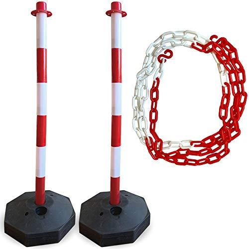 2 postes de delineador de tráfico | cadena incluida | mejor que los conos | perfecto poste de estacionamiento, lote de construcción, marcador de carretera o soporte de calle | Base portátil y rellenable | Gran barrera de seguridad de precaución