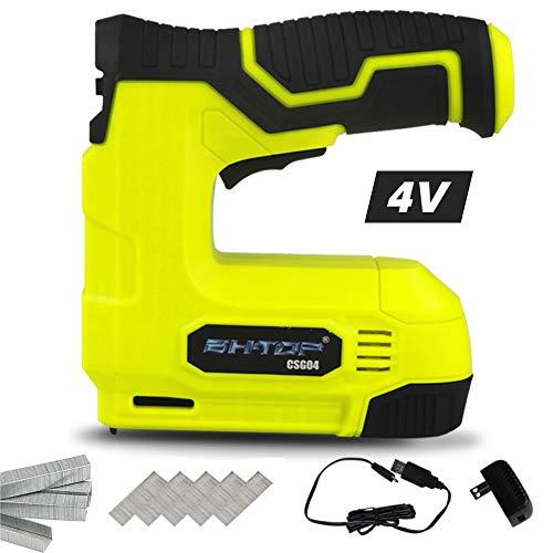BHTOP Pistola de grapas inalámbrica, 4 V Power Brad Nailer/Grapadora, grapadora eléctrica con cargador USB recargable, grapas y clavos incluidos