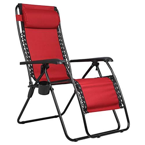 PORTAL Sillón reclinable de Gravedad Cero, Silla Plegable para Patio y césped, con Soporte para Copa para reposacabezas, soporta 136 kg, Color Rojo