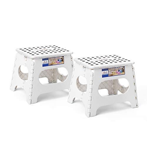Acko Taburete plegable de plástico ligero de 9 pulgadas, 2 unidades de 28 cm, taburetes plegables antideslizantes para niños y adultos, cocina, baño, dormitorio (blanco, 2 unidades)
