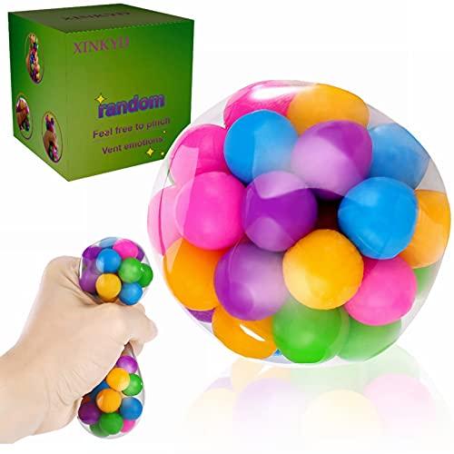 Bolas de estrés, juguetes antiestrés, bolas de estrés con cuentas coloridas de ADN, pelota de estrés blanda, resistente a desgarros, no tóxico, juguete para aliviar el estrés, ansiedad, herramienta de ejercicio de mano, juguete de apretar (1 unidad)