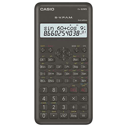 Casio FX-82MS-2-S-MH Calculadora Cientifica de 240 Funciones con Pantalla de 2 Lineas, Negro, Med