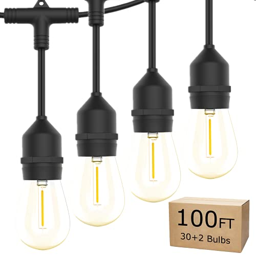 Guirnalda de luces para exteriores de 30 m – Bomcosy para exteriores con 30 + 2 bombillas Edison S14, 1 W regulable, 2700 K, IP65, resistente al agua, luces de patio de grado comercial para patio trasero, fiesta