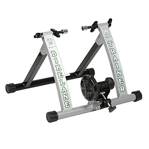 Bike Lane Entrenador de Bicicleta para Interior y Bicicleta con Volante de Acero mecanizado de 850 Gramos para la sensación más Natural del Pedal