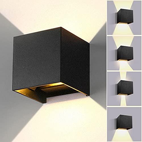 CHENBEN Aplique de pared ajustable impermeable 3000 K blanco cálido moderno lámpara de pared accesorios 12 W aluminio arriba y abajo interior/exterior casa pasillo, baño baño iluminación