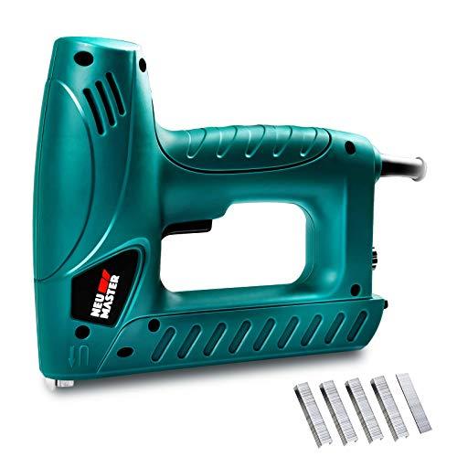 NEU MASTER N6013 - Pistola grapadora eléctrica con seguridad de contacto y perilla ajustable para tapicería y mejora del hogar, incluye 336 grapas y 200 clavos