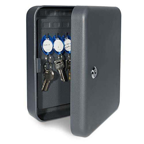 Navaris Caja para llaves de pared - Armario llavero con 48 portallaves - Cajetín organizador guardallaves para casa oficina - Con cerradura