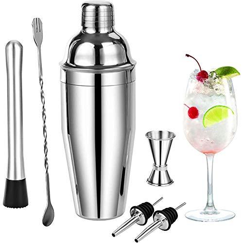 Shaker Cocktail Bar Set Kit de Cocteleria, 6 Piezas Utensilios de Bar - RabbitStorm Conjuntos para el Bar Coctelera de Cóctel Accesorios de Acero Inoxidable 750ml , Probeta Graduada con Doble cara 30 / 15ml, Boquillas de Vino, Agitador para Hielo, Cuchara de Mezcla