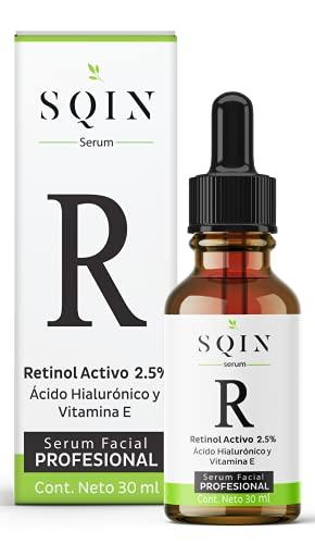 SQIN LX Serum Retinol 2.5% y Ácido Hialurónico Facial + Vitamina E. Suero Facial Profesional Hidratante Antiarrugas + Anti Manchas. Serum de noche para signos de envejecimiento avanzados. 100% Vegano con Ingredientes Naturales, 30ml