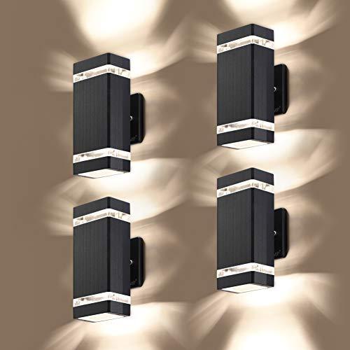 LMP - Juego de 4 luces LED cuadradas arriba y abajo para exteriores, cuerpo en aluminio resistente al agua, lámparas de pared para exteriores, 3000 K 5 W con certificado ETL