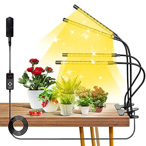 Luz de crecimiento LED de espectro completo, 264 LED de 4 luces de cultivo para plantas de interior con espectro completo y espectro rojo azul, 9 niveles regulables, temporizador de 3/6/9/12H, cuello de cisne ajustable, 4 modos de interruptor