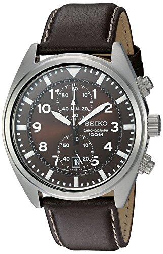 Reloj Seiko para Hombres 43mm, pulsera de Piel, cubierta de Hardflex