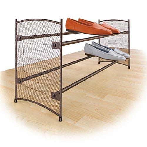 Lynk - Zapatero extensible de 2 niveles apilable - Estante para zapatos de malla de acero - Bronce